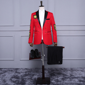 (Jacket+Pants) Double-breasted Embroidery Red Black Evening Party Ceremonies Presided Nightclub Bright Classic Men Suits S026